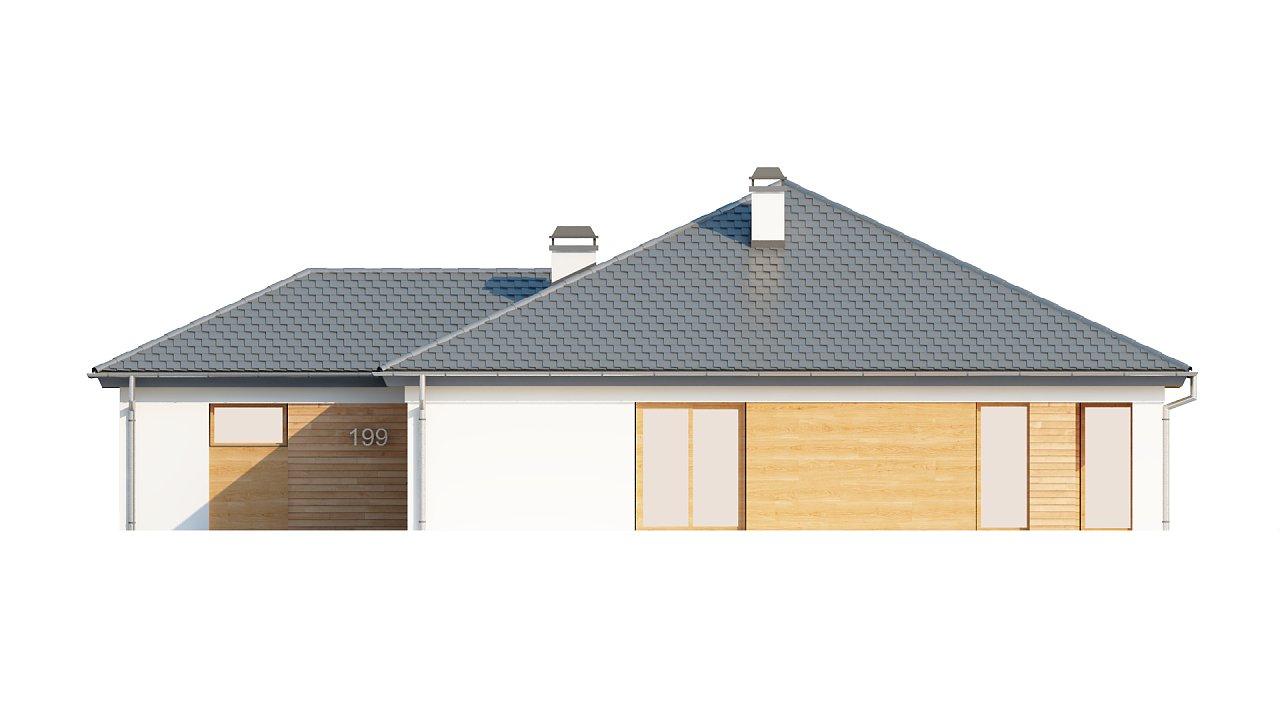 Комфортный одноэтажный дом с выступающим фронтальным гаражом для двух машин. 18