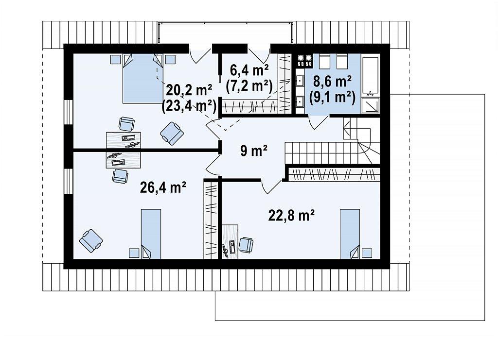 Проект мансардного дома в европейском стиле с балконом. план помещений 2