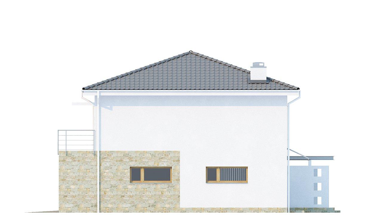 Двухэтажный дом с гаражом для одной машины, с интересным оформлением входной зоны. 4