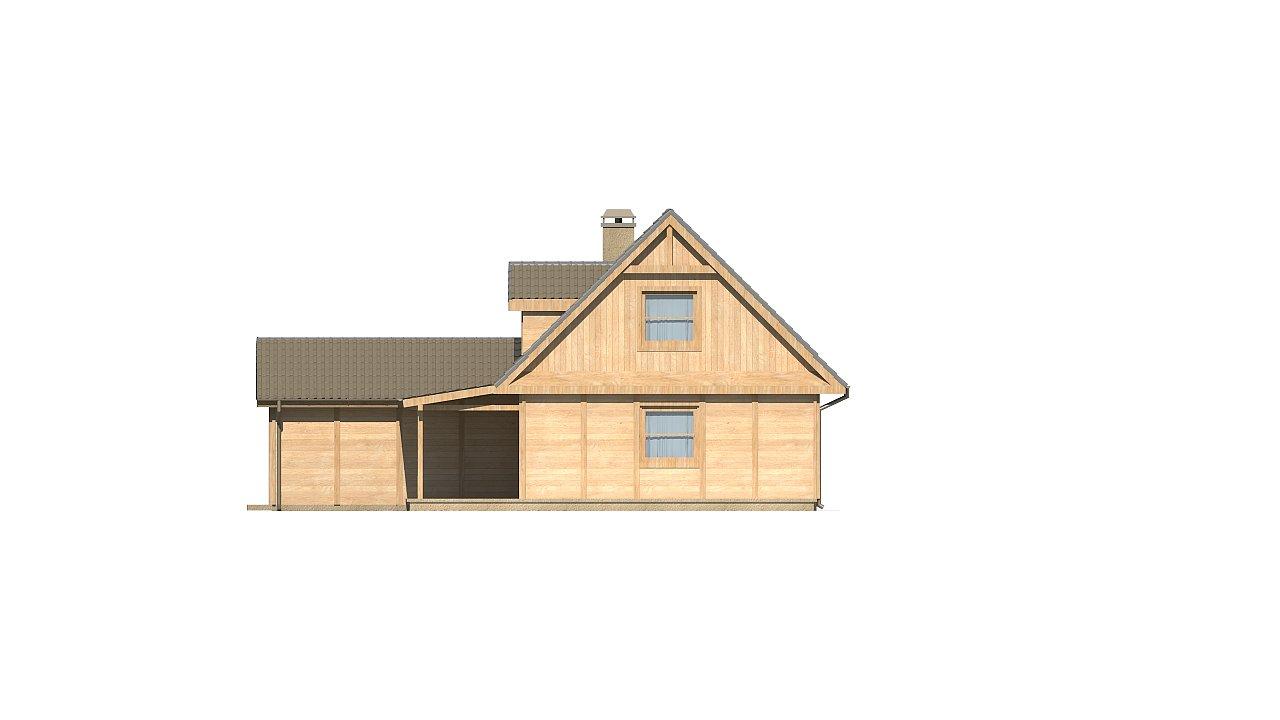 Вариант проекта Z39 c деревянными фасадами и гаражом расположенным с левой стороны. 16