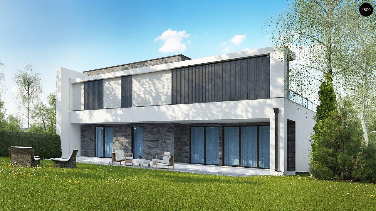 Современный проект домов-близнецов с большим гаражом и террасой на втором этаже. 12