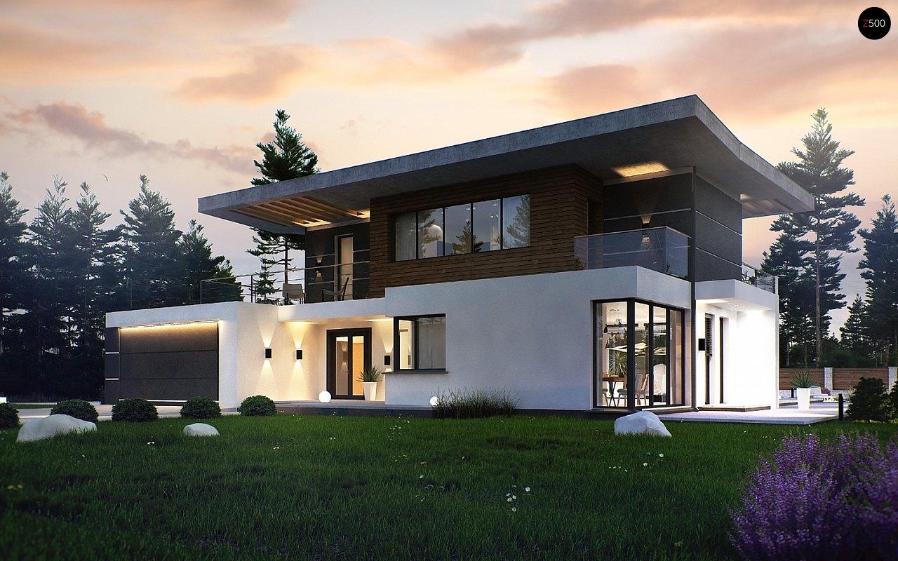Современный двухэтажный дом с гаражом и террасой, спальней на первом этаже и ванной комнатой 2