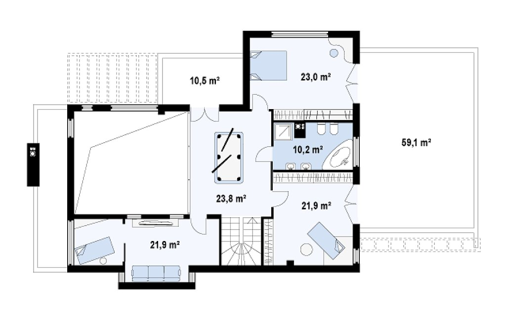Современный дом кубической формы с террасой над гаражом. план помещений 2