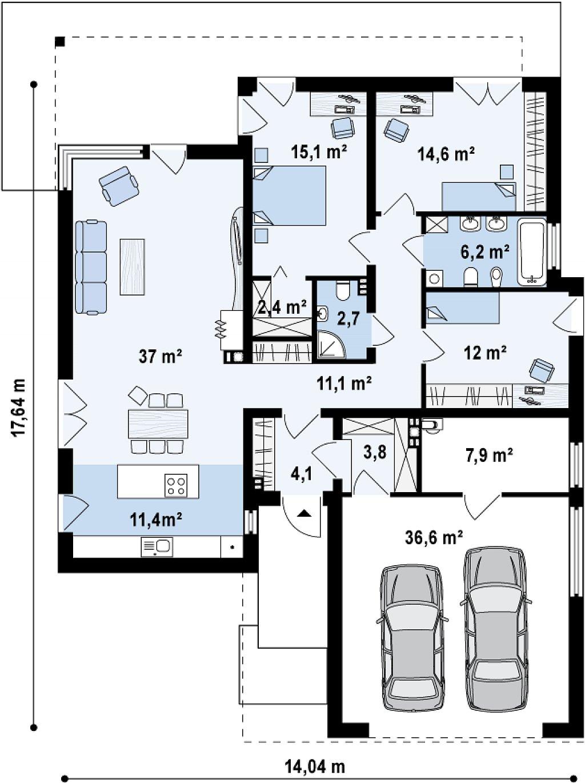 Одноэтажный дом модернистского характера с гаражом для двух автомобилей. план помещений 1