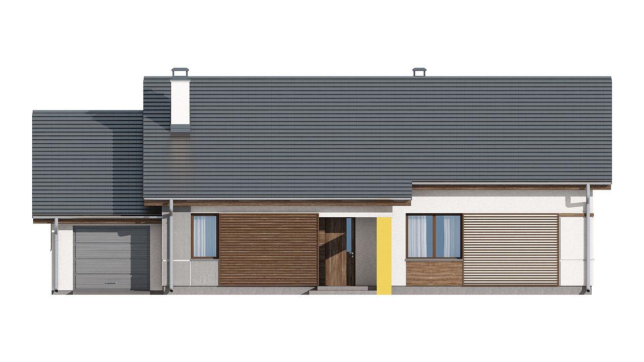 Проект одноэтажного дома с двускатной кровлей, с тремя спальнями и гаражом. - фото 12