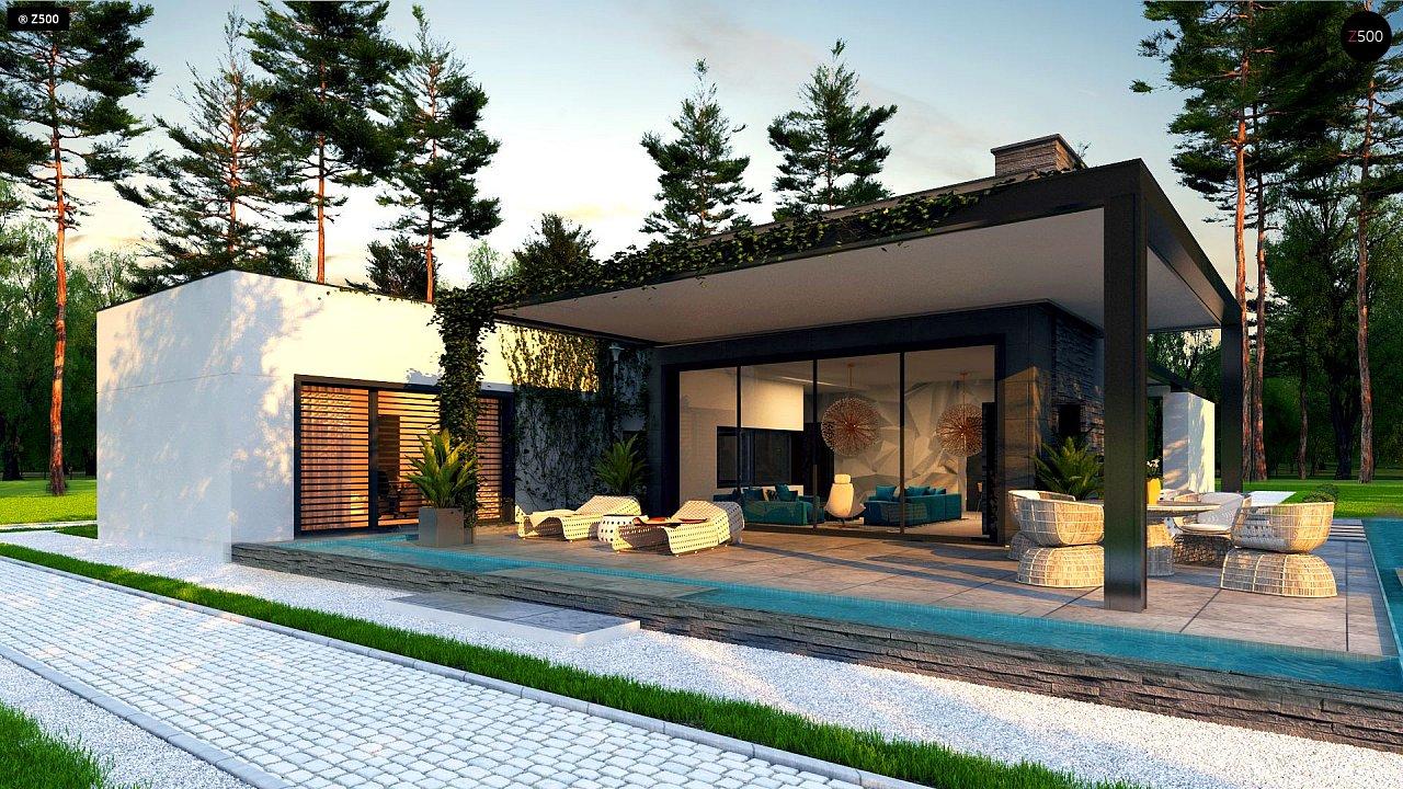 Одноэтажный дом с плоской кровлей в современном стиле и навесом для двух машин 2