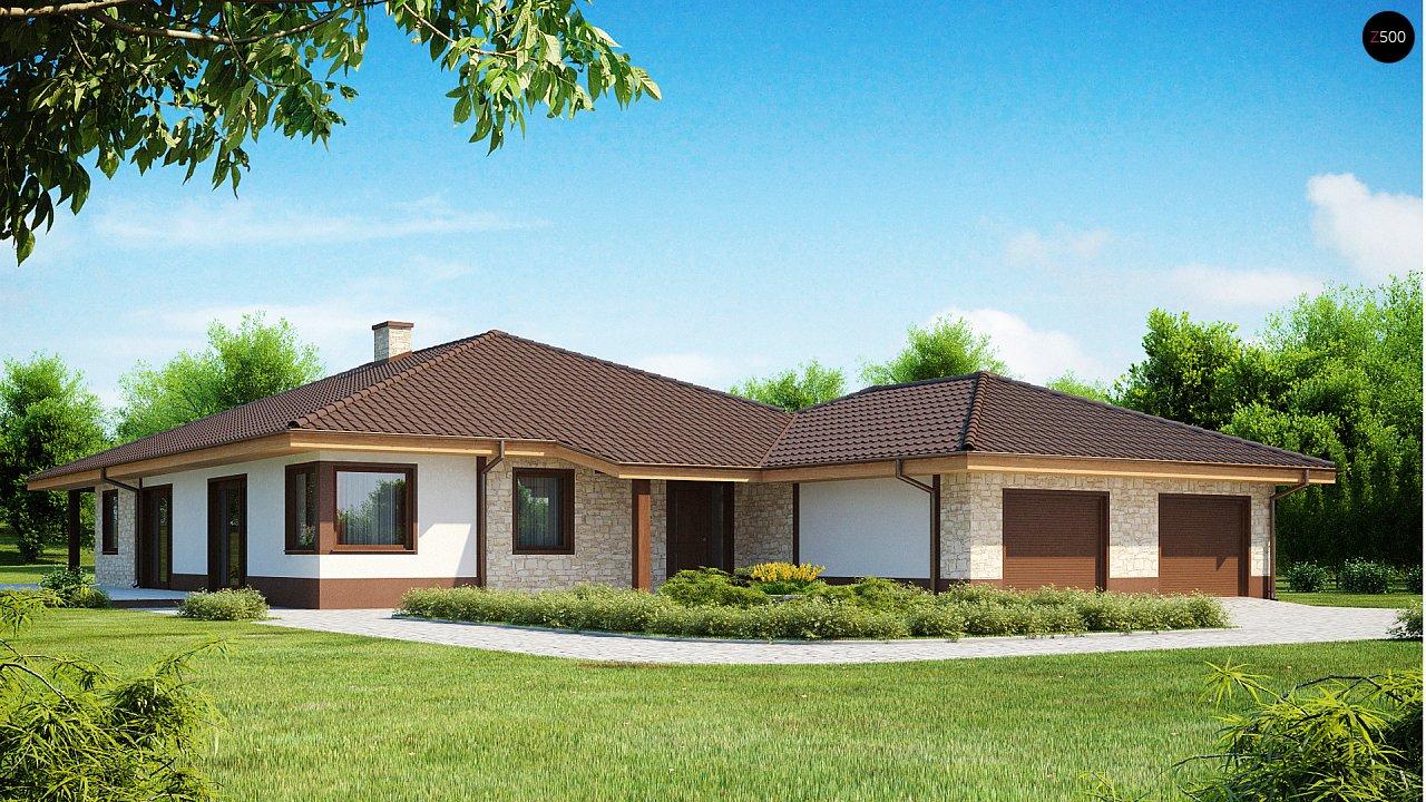Комфортабельный одноэтажный дом для продольного участка с большим гаражом, с возможностью обустройства мансарды. 1