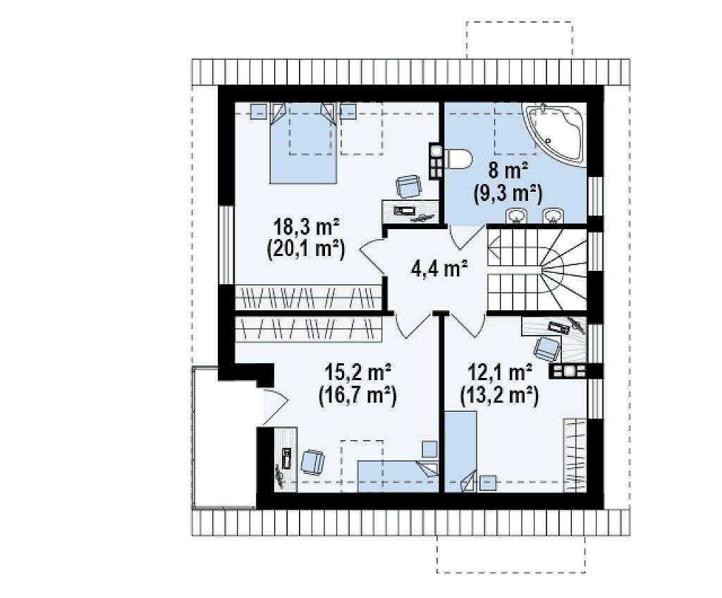Проект дома с мансардой, с высокой аттиковой стеной, с дополнительной комнатой на первом этаже. план помещений 2