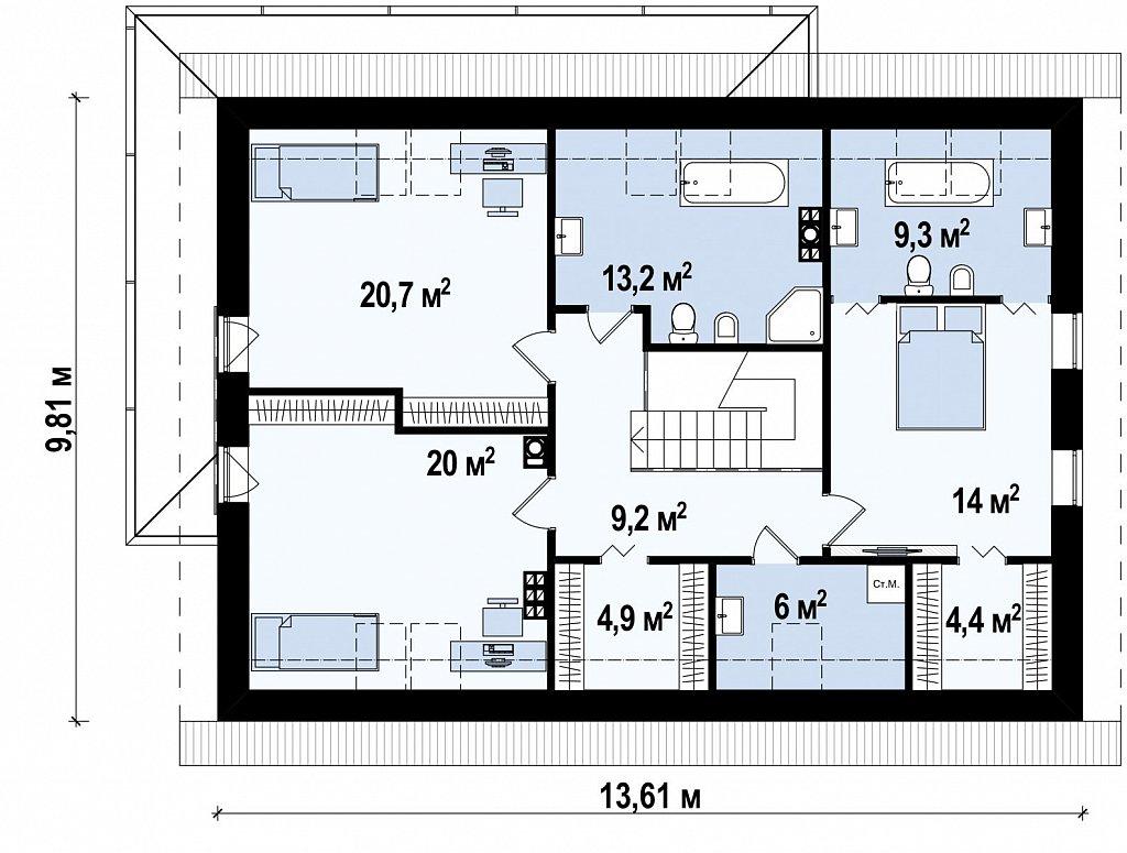 Аккуратный дом простой традиционной формы с гаражом и дополнительной спальней на первом этаже. план помещений 2