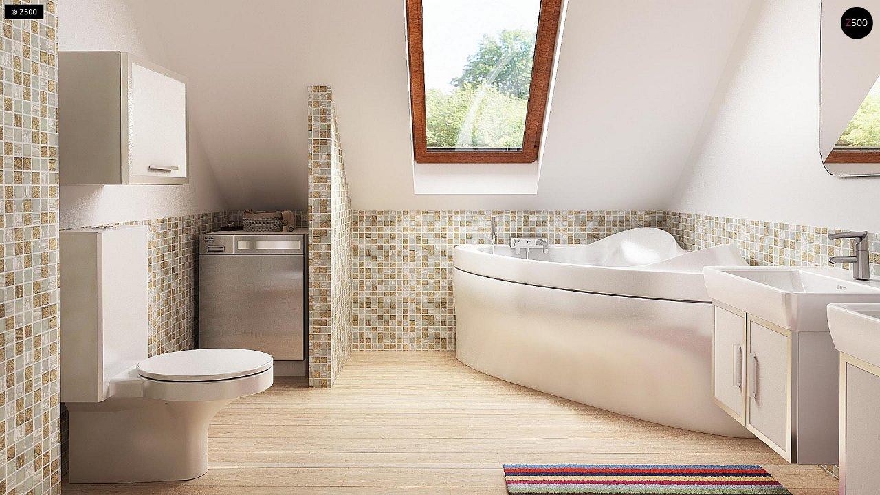 Функциональный традиционный дом с современными элементами в архитектуре, со встроенным гаражом. 10