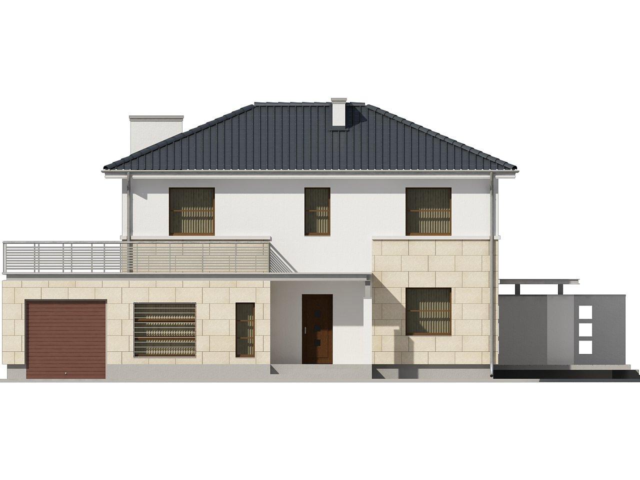 Современный двухэтажный дом простой формы с террасой на втором этаже. - фото 3