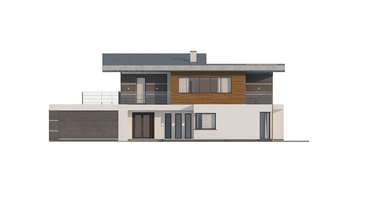 Современный двухэтажный дом с гаражом и террасой, спальней на первом этаже и ванной комнатой 21