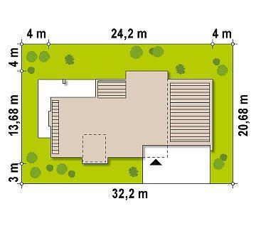 Современный дом кубической формы с террасой над гаражом. план помещений 1