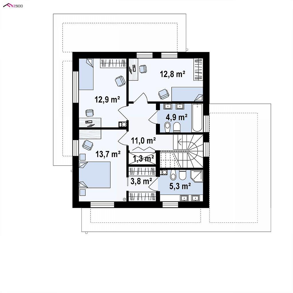 Проект двухэтажного дома с дополнительной комнатой на первом этаже и гаражом на один автомобиль. план помещений 2
