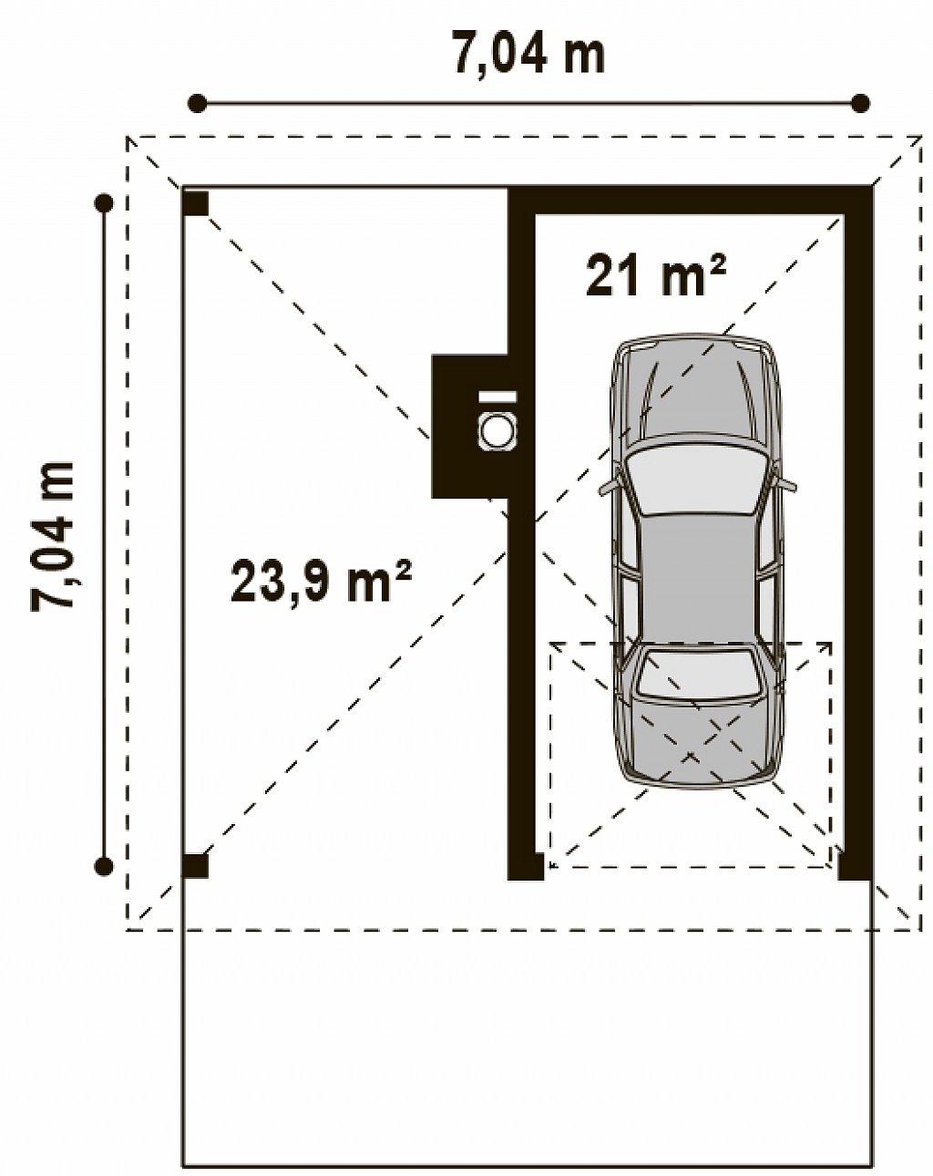 Проект гаража для одного автомобиля, для коттеджей традиционного дизайна план помещений 1