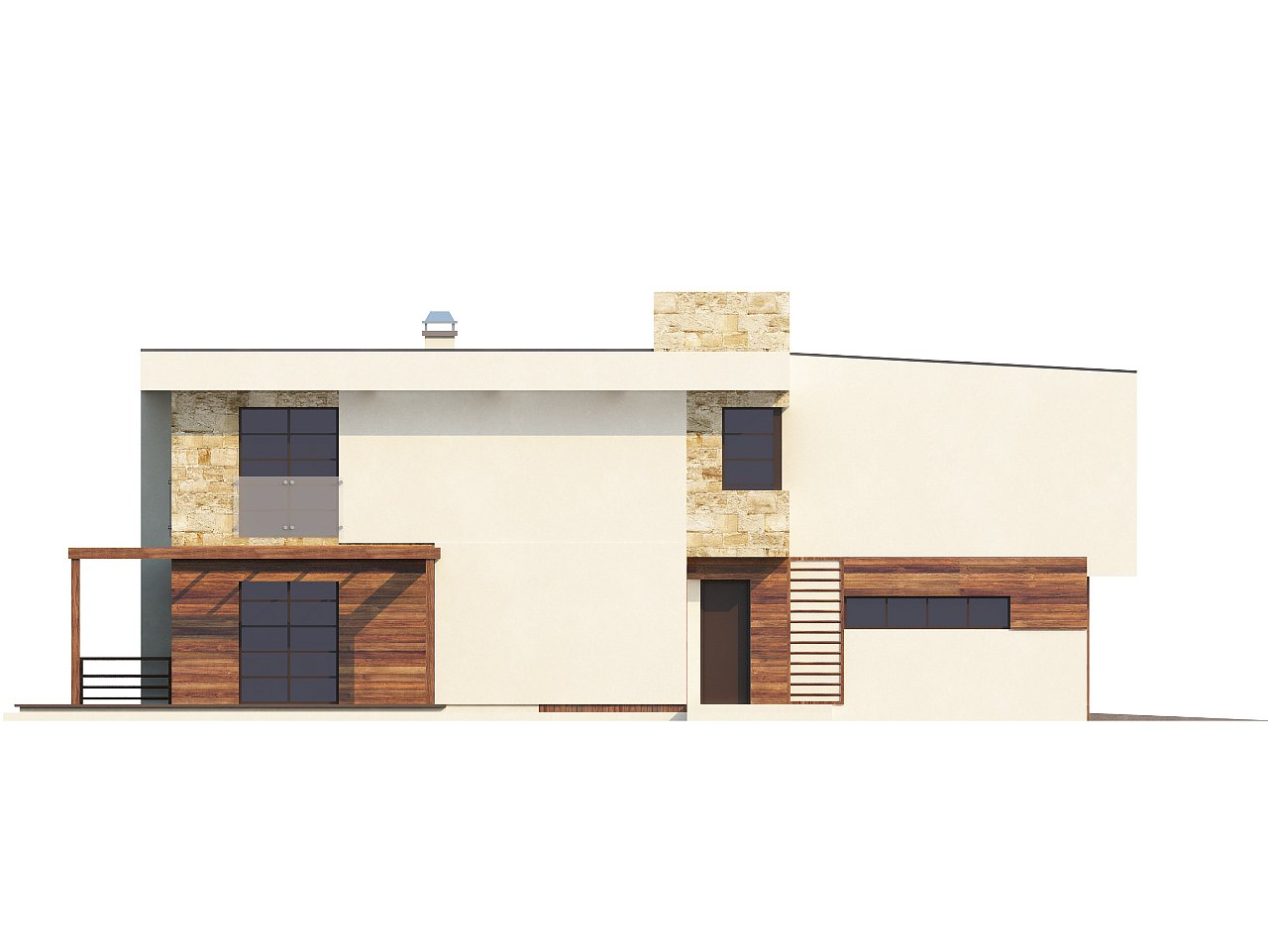 Двухэтажный дома в стиле модерн с практичным интерьером и гаражом для двух автомобилей. 7