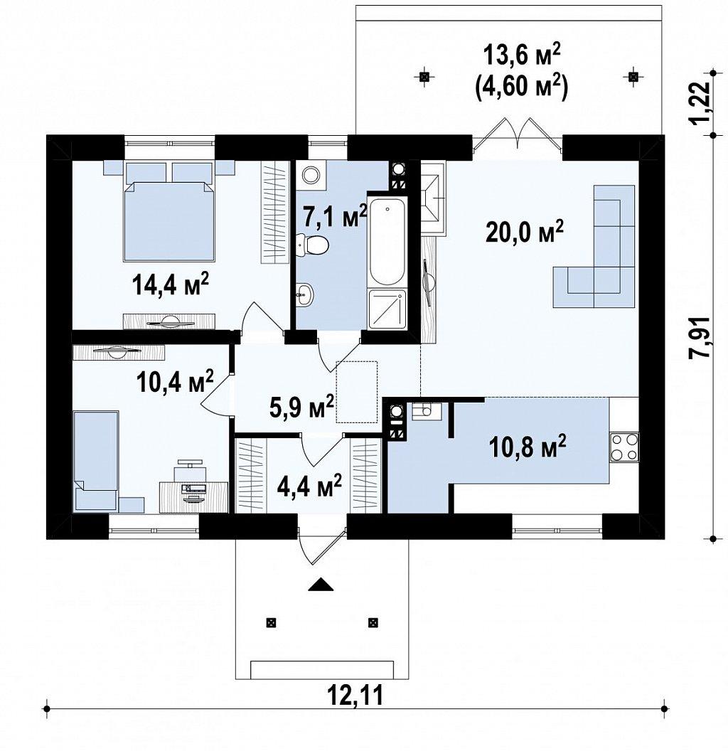 Экономичный в реализации одноэтажный дом с просторной гостиной и двумя спальнями. план помещений 1