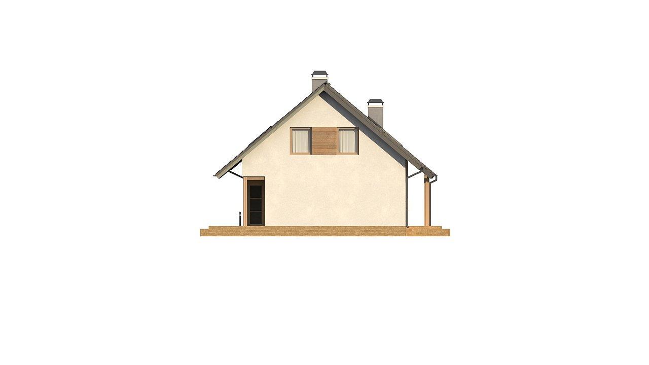 Дом с мансардой с двускатной крышей и комнатой на первом этаже 21