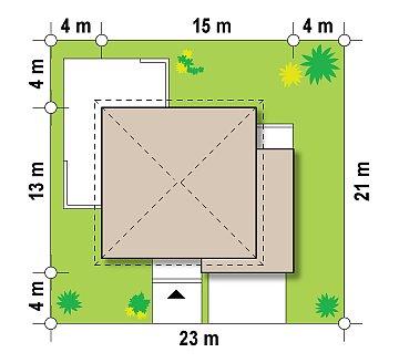 Комфортабельный двухэтажный дом простой формы со стеклянным эркером над гаражом. план помещений 1