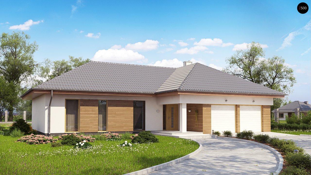 Проект комфортного одноэтажного дома с фронтальным гаражом для двух машин. 1
