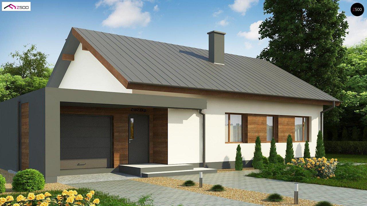 Дом, выполненный в традиционном стиле с одноуровневой планировкой. 1