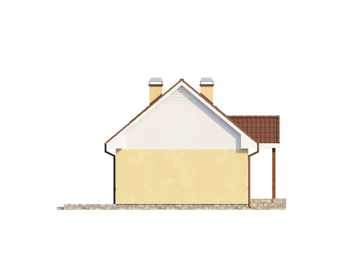 Компактный традиционный дом простой формы с двускатной крышей. 25