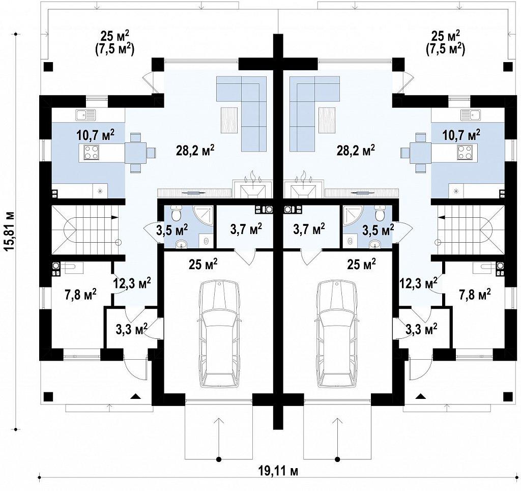 Проект домов близнецов для двух дружественных семей. план помещений 1