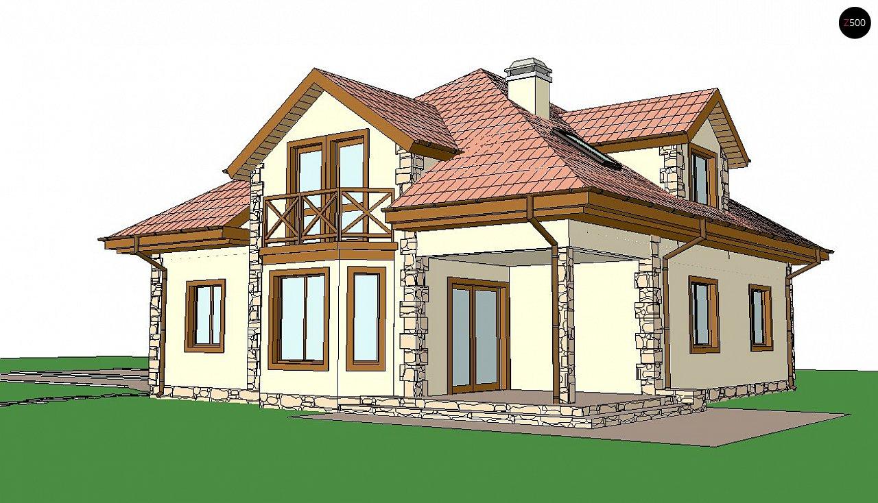 Просторный и уютный дом с мансардным этажом, подвариант проекта Z58. 2