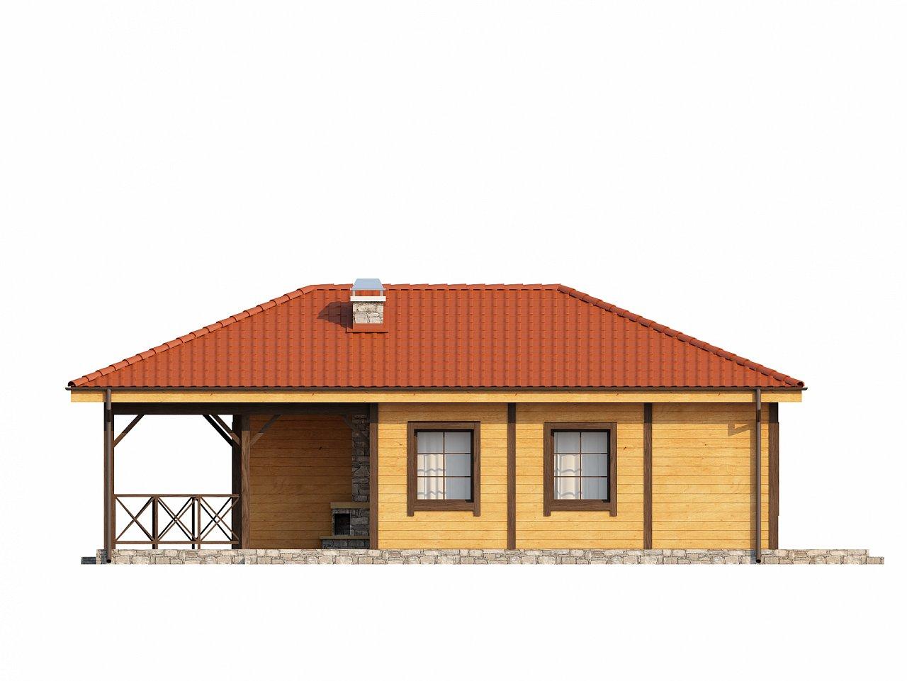 Аккуратный одноэтажный дом с деревянной облицовкой фасадов, адаптированный для каркасной технологии. 16