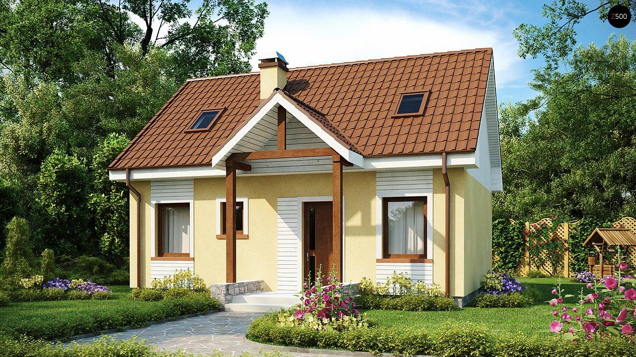 Компактный традиционный дом простой формы с двускатной крышей. 1