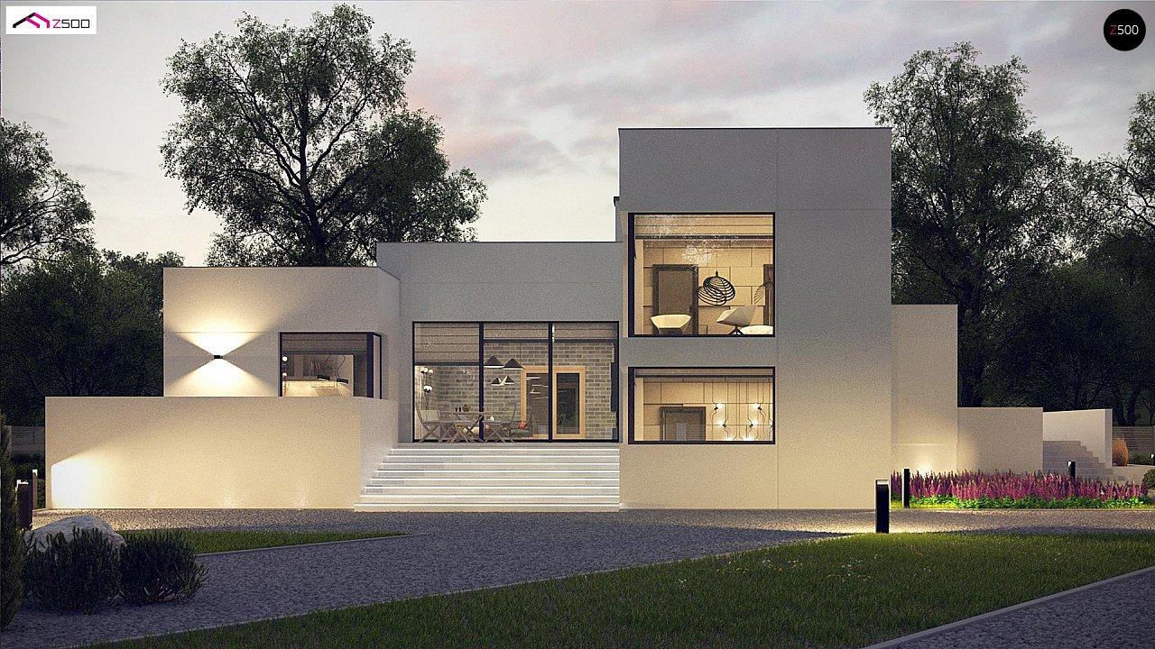 Современный проект с уникальным дизайном, оштукатуренным фасадом и гаражом 6