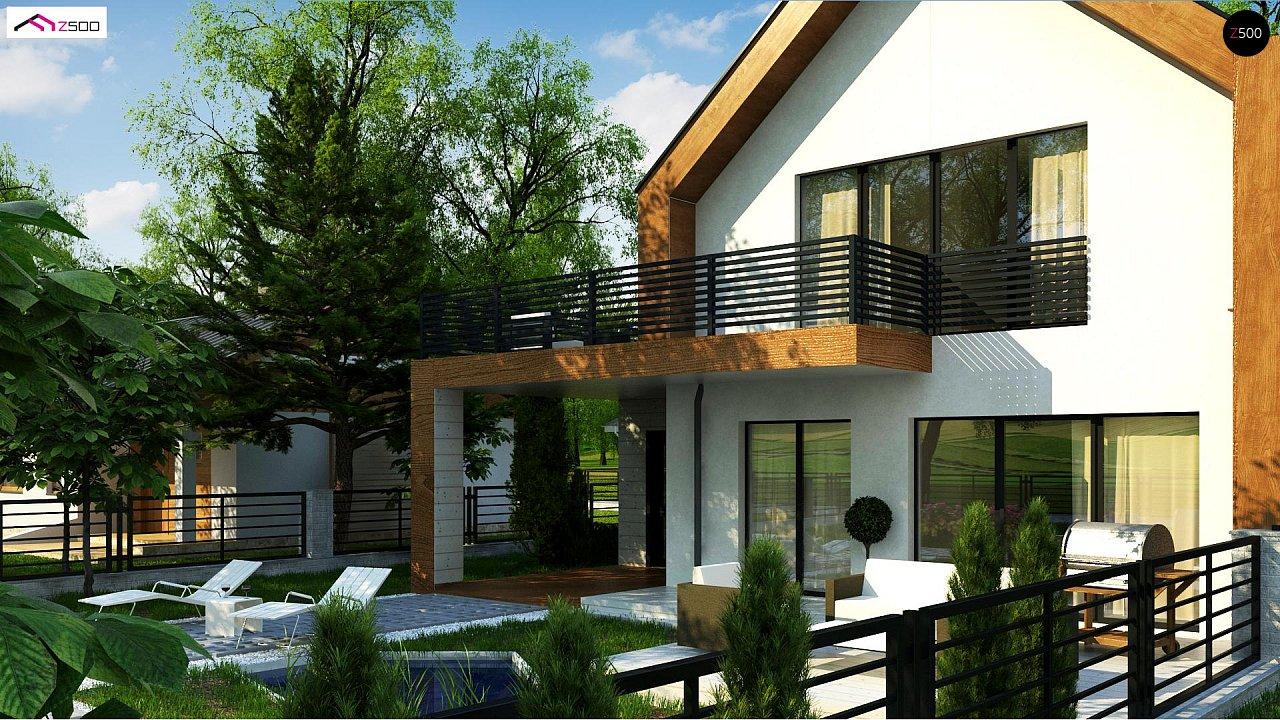 Современный дом с двускатной крышей и гаражом для одного пользователя 3