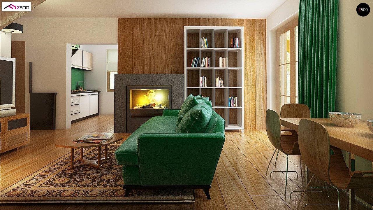 Компактный дом с мансардой, с крытой террасой и внешним камином. 8