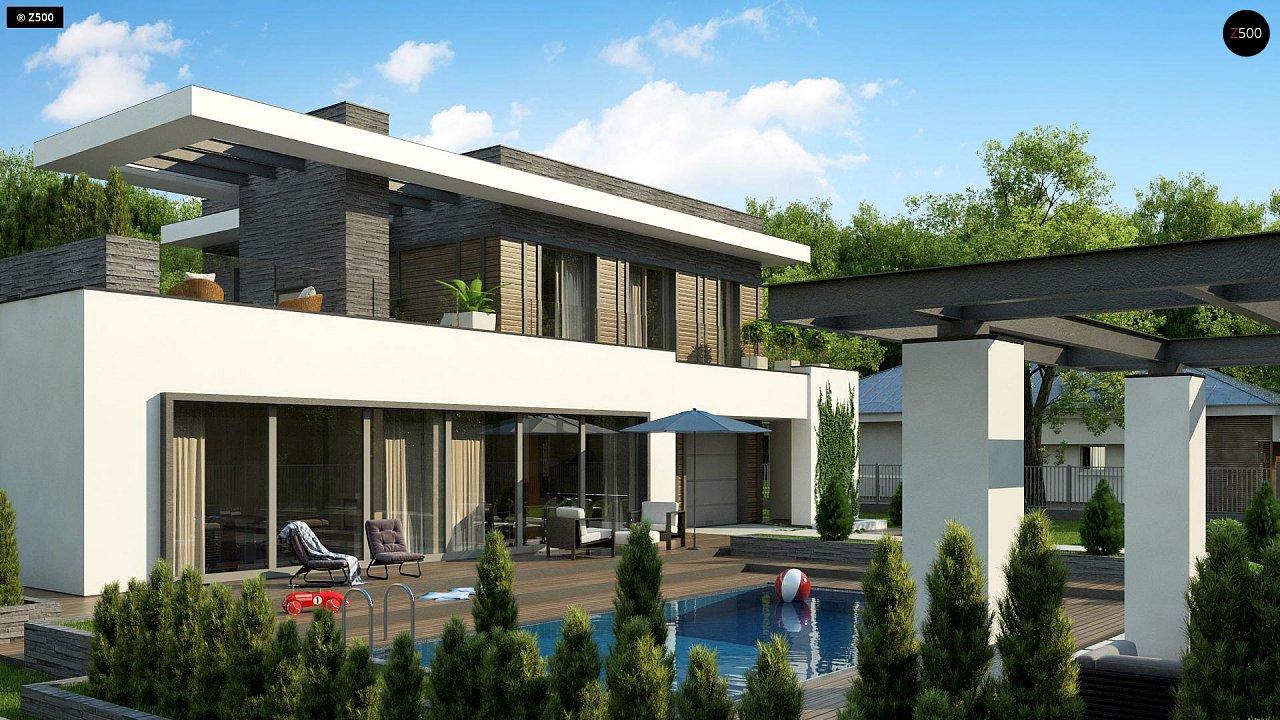 Стильный дом в современном стиле с просторной террасой на втором этаже. 4
