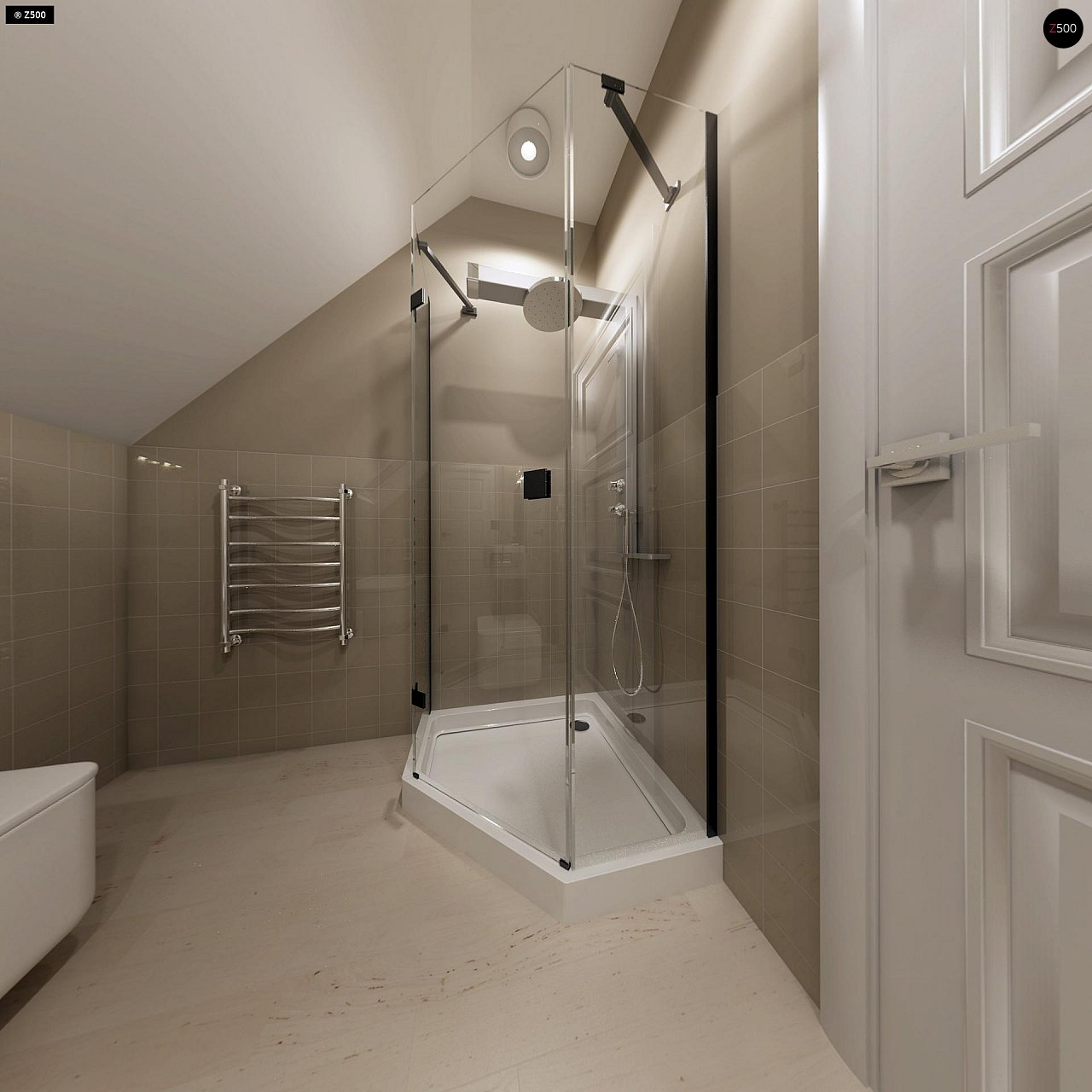 Компактный дом с мансардой, эркером в дневной зоне и c кабинетом на первом этаже. 16