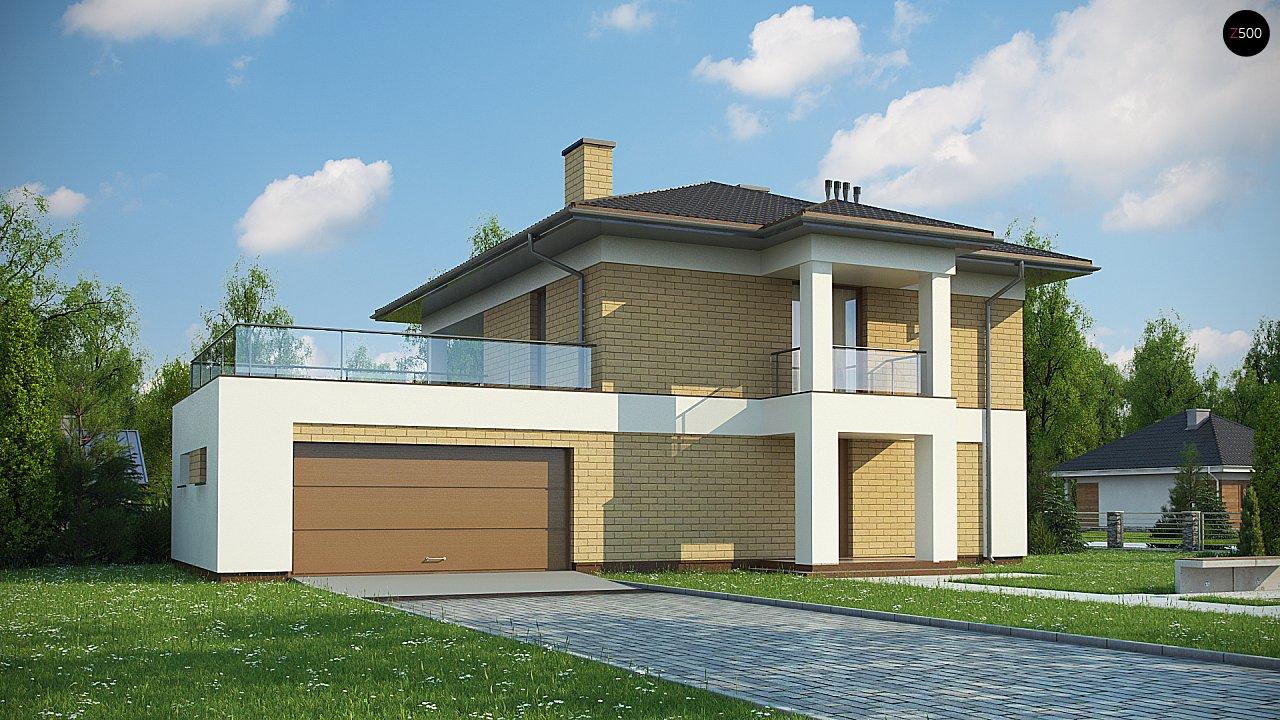 двухэтажный дом с гаражом на две машины в классическом стиле. 1