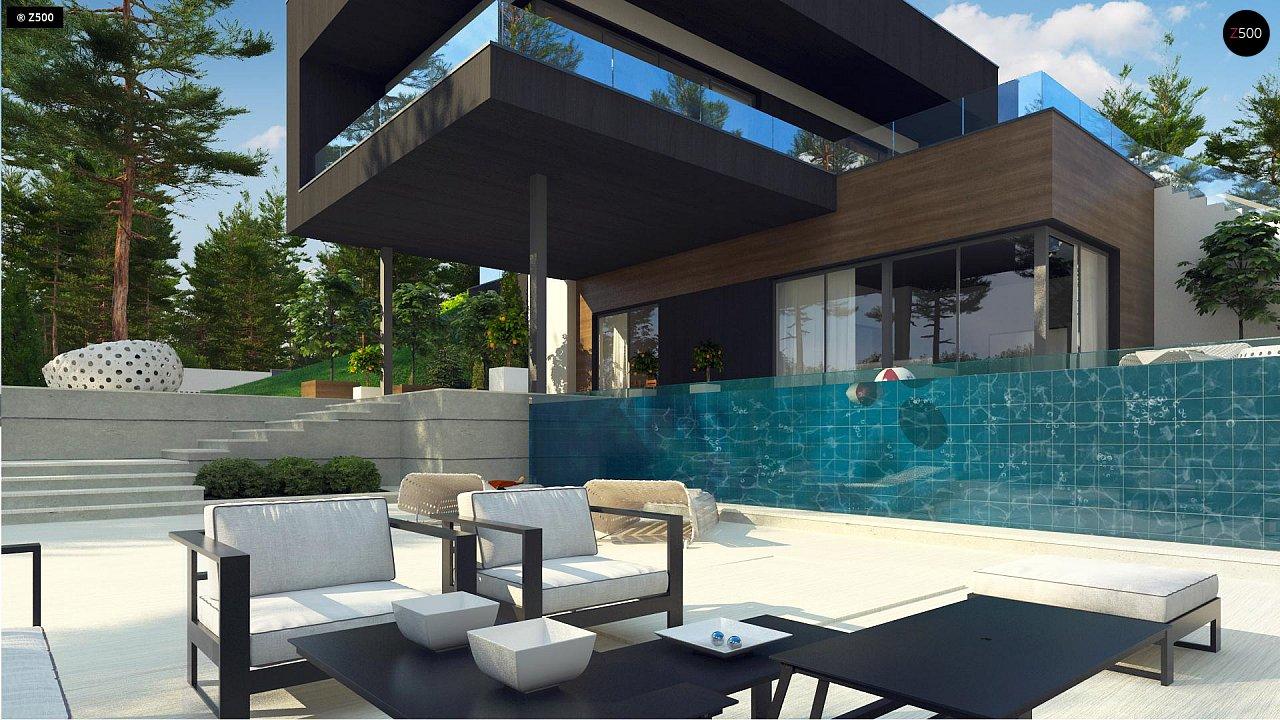 Проект современного двухэтажного дома. Проект подойдет для строительства на участке со склоном. - фото 3