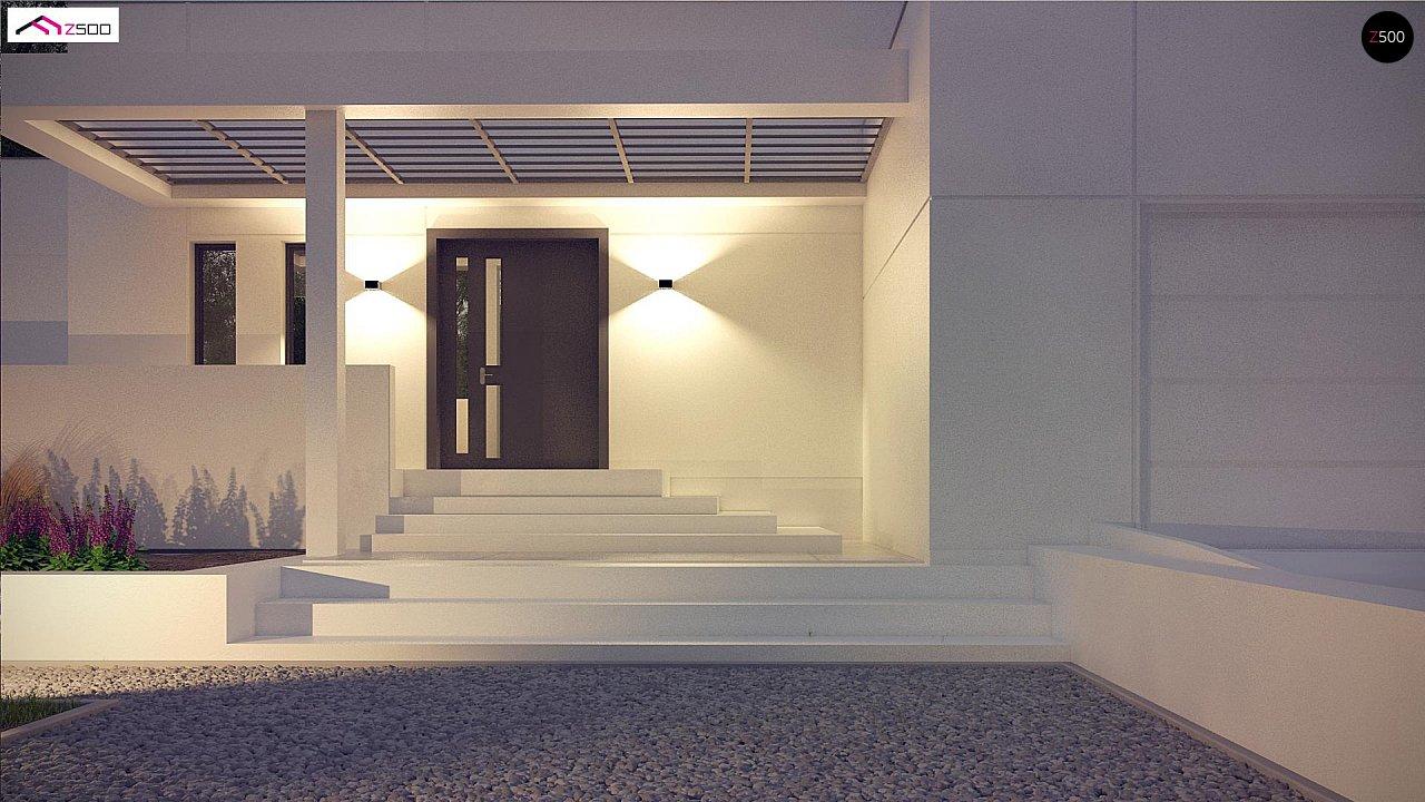 Современный проект с уникальным дизайном, оштукатуренным фасадом и гаражом 3
