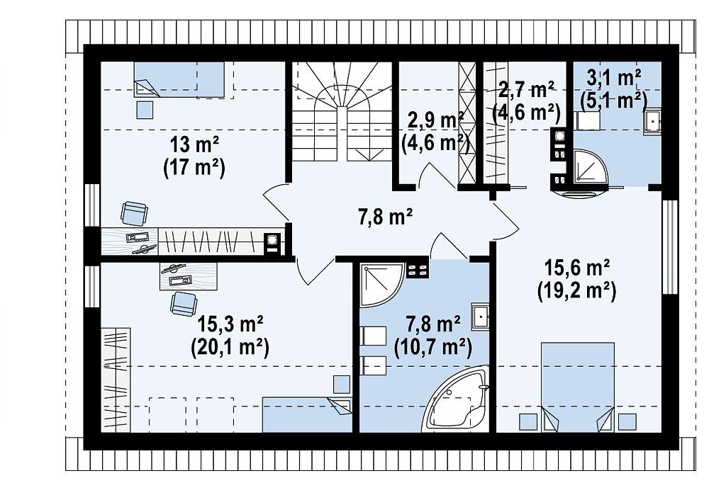 Проект мансардного с тремя спальнями и двускатной крышей план помещений 2