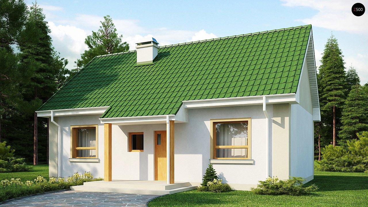 Простой в реализации дом с двускатной крышей, с возможностью обустройства мансарды. 1