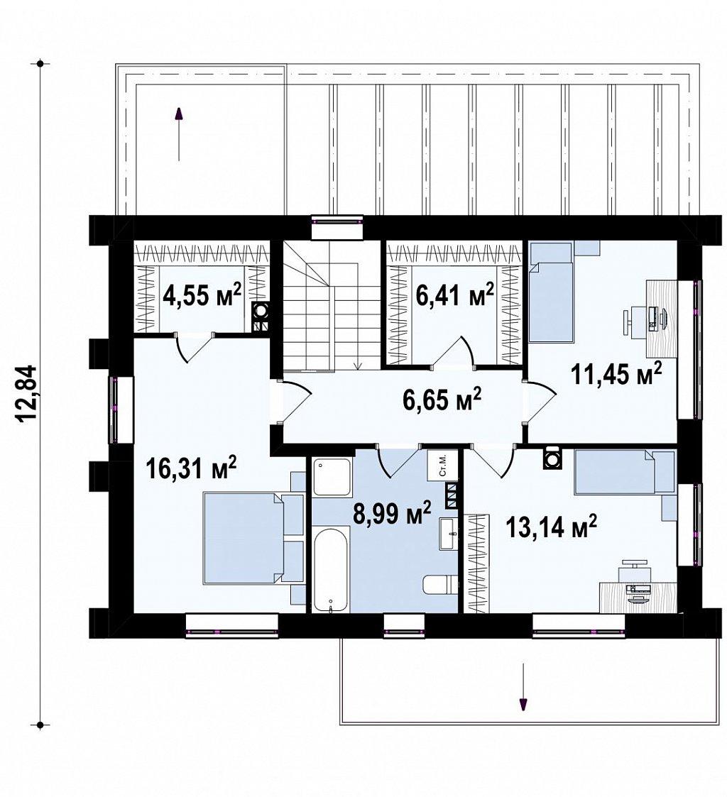 Двухэтажный коттедж с уютной террасой и балконом план помещений 2