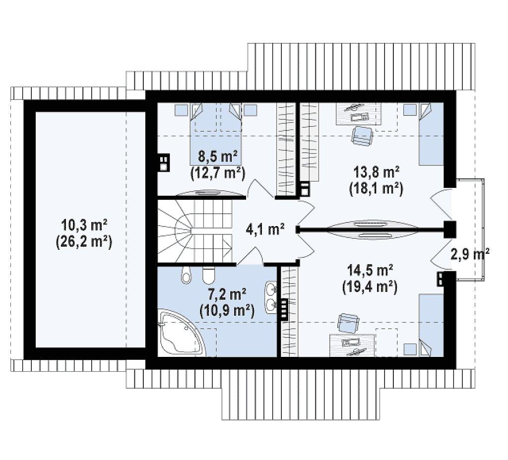 Вариант проекта Z162 с гаражом с левой стороны, с нежилой мансардой над гаражом. план помещений 2