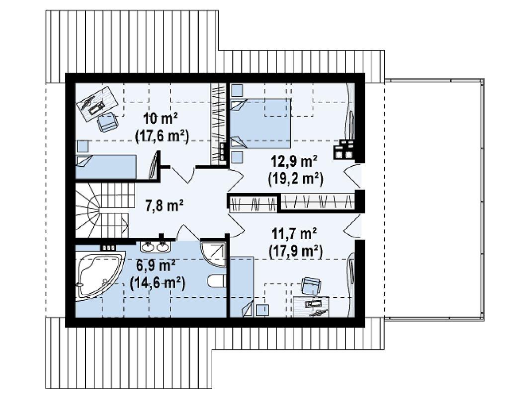 Дом со входом с южной стороны, с большой террасой на втором этаже. план помещений 2