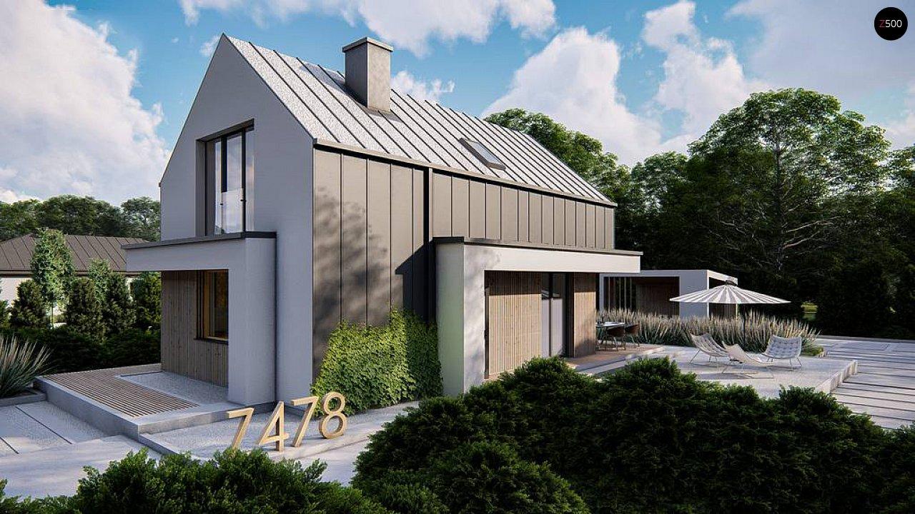 Проект одноэтажного дома с двускатной крышей для небольшого участка 1
