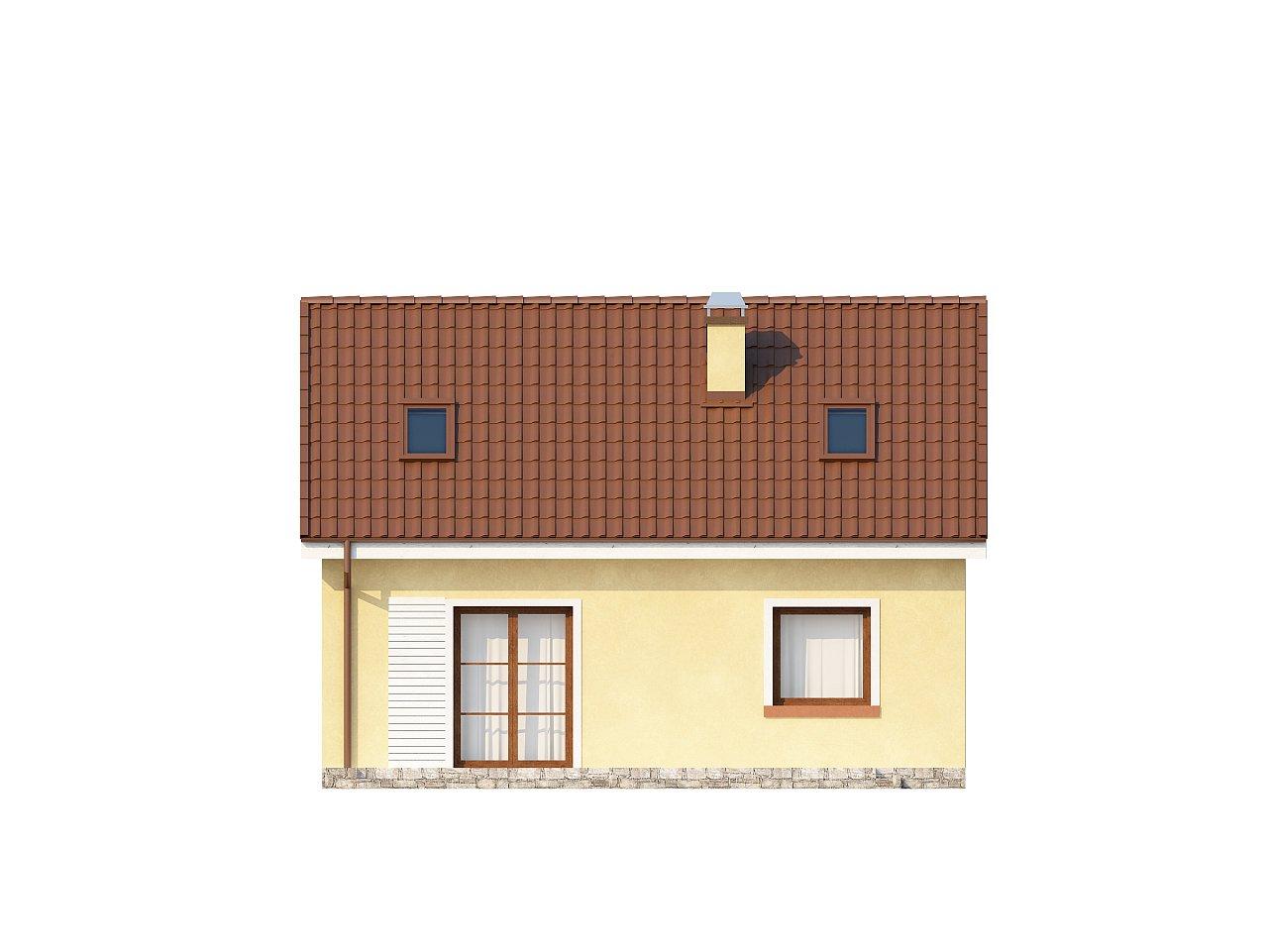 Компактный традиционный дом простой формы с двускатной крышей. 23
