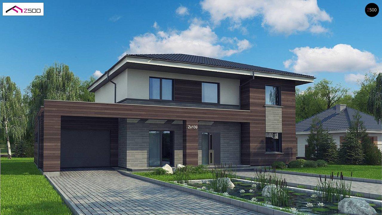 Проект двухэтажного дома простой формы с боковым гаражом - фото 1
