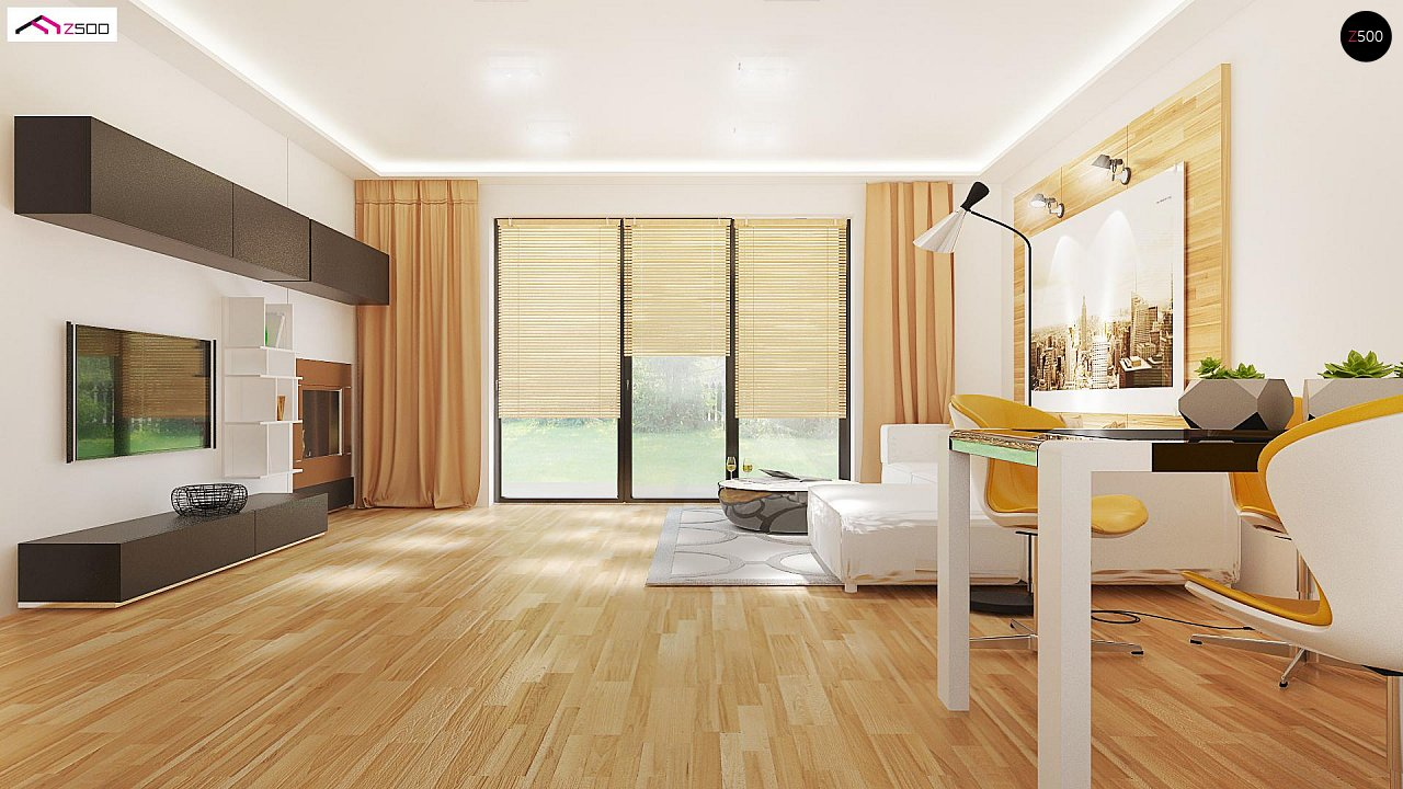 Проект выгодного одноэтажного дома с возможностью адаптации чердачного помещения. 7