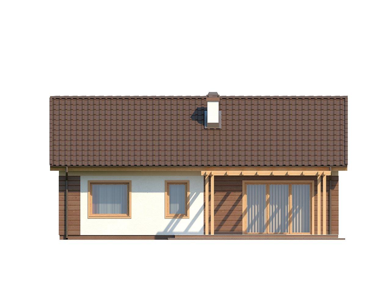 Аккуратный одноэтажный дом простой формы с двускатной крышей. 4