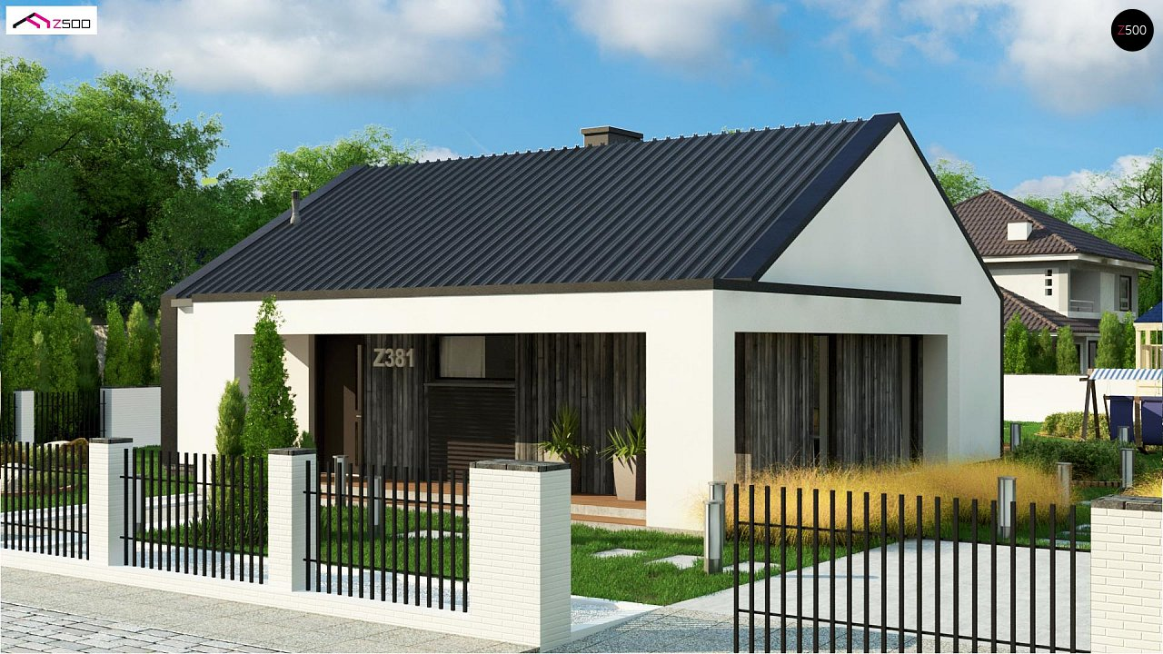 Компактный одноэтажный дом с двускатной крышей и 3 спальнями 1
