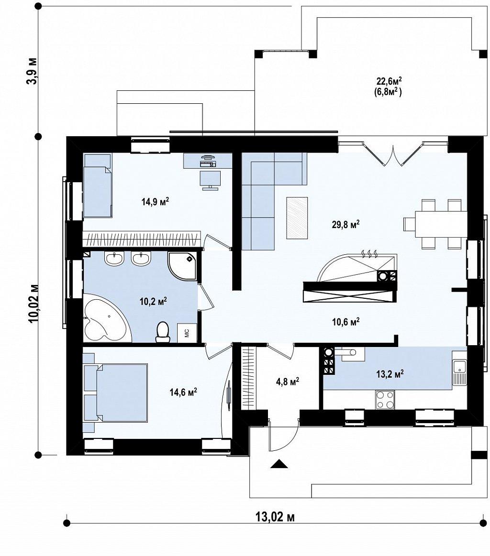 Простой и недорогой в строительстве энергосберегающий дом современного дизайна. план помещений 1